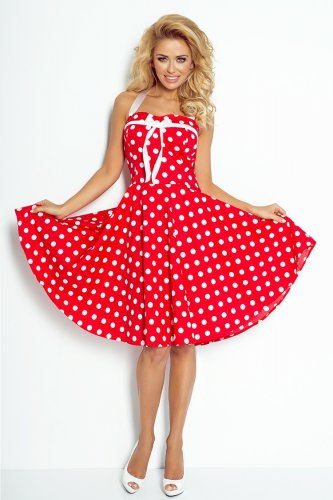 Pin Up dress - red with white dots  30-14