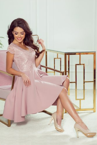 300-1 PATRICIA - dress with longer back with lace neckline - powder pink