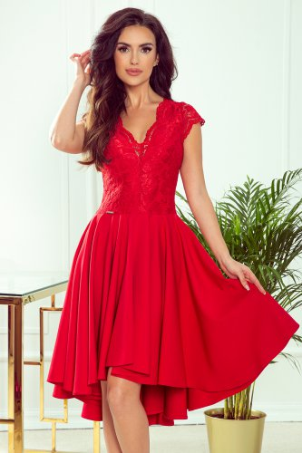 300-2 PATRICIA - dress with longer back with lace neckline - Red