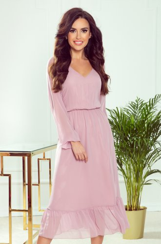304-1 Chiffon midi dress with a neckline and frill - dirty pink