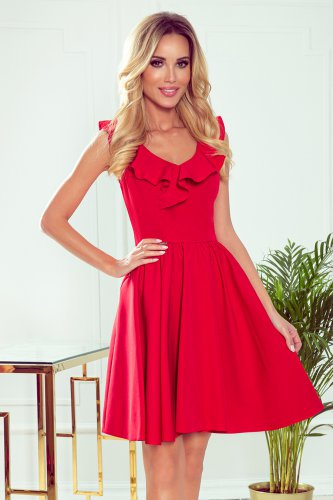 307-1 POLA dress with frills on the neckline - red