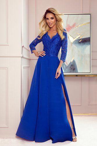 309-2 AMBER elegant lace long dress with a neckline - Royal blue