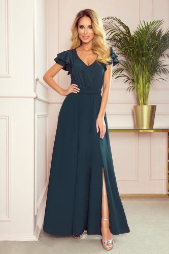 310-1 LIDIA long dress with neckline and frills - green
