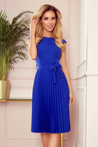 311-2 LILA Pleated dress with short sleeves - Royal Blue