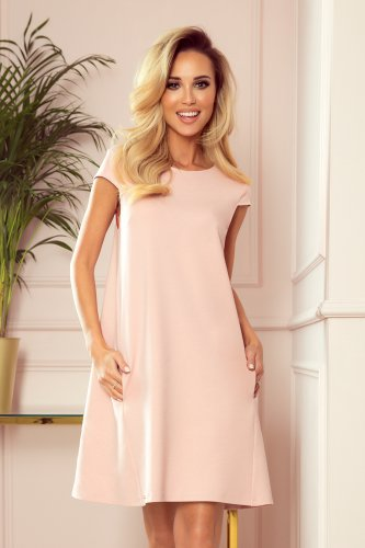 314-1 CELINE Trapezoidal dress with pockets - pastel rose