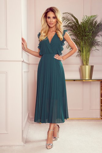 315-1 EMILY Pleated dress with frills and neckline - green