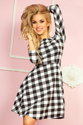 Globed dress with 3/4 sleeve - white grille 49-1