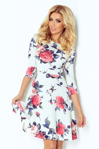 Globed dress with 3/4 sleeve - flowers - Blue 49-13