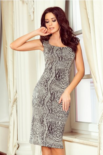 53-33 Fitted dress - pattern: snake skin