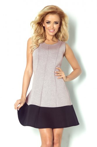 Dress with a black stripe on the bottom - foam - light gray melange + Black 85-2