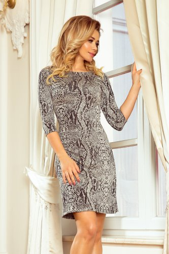 88-18 Dress with a sleeve and a trapezoidal skirt - snake skin