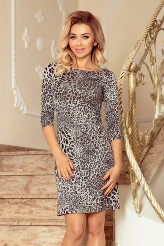 88-19 Dress with a sleeve and a trapezoidal skirt - panther