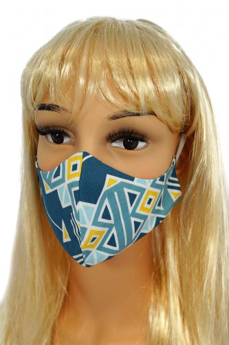 CV011 Reusable decorative masks - Dark blue arrows - 100% cotton - 2 pieces