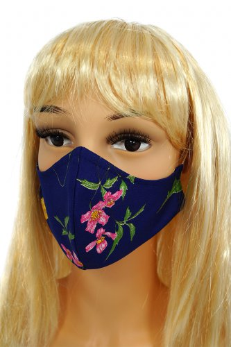 CV013 Reusable decorative masks - Navy Blue with wild flowers - 100% cotton - 2 pieces