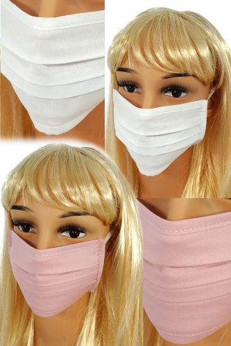 CV04 Reusable protective masks - 2 layers cotton - 2 white + 2 light pink
