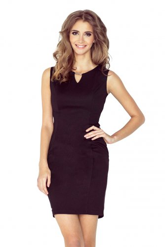 Elegant dress with buckle - BLACK MM 005-3
