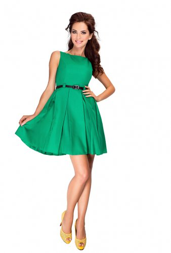 6-12 Dress with contrafold - Green